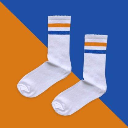 Turuncu Mavi Çizgili Çorap